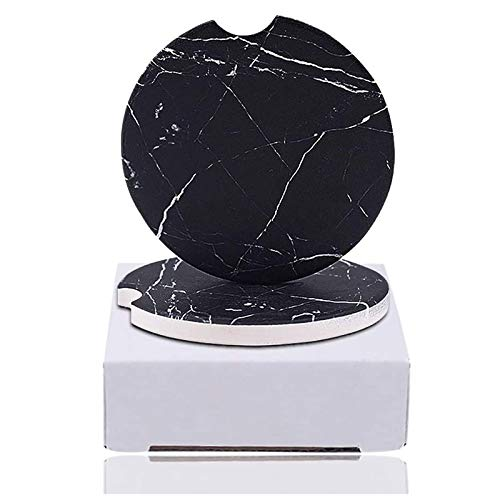 2-Piece Car Coaster Marble Style Funny Coasters Absorbent for Car Cup Holders Ceramic Stones Cup Pad Set - Absorb Condensations,Keep Car Cup Holders Dry and Clean, 2.6 Inches in Diameter.