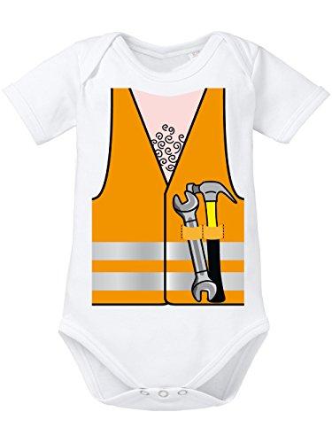 clothinx Baby Body Unisex Karneval 2019 Bauarbeiter-Kostüm Weiß Größe 62-68