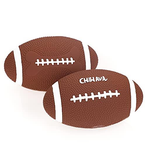 Chiwava 2 stück 6 Zoll Quietschen Latex Hundespielzeug Ball Fußball Rugby Holen interaktives Spielzeug für mittlere groß Hunde