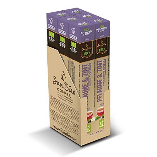 SanSiro BIO Tee PFLAUME & ZIMT | 100% industriell kompostierbar | 60 Kapseln | für Nespresso | umweltfreundlich und CO2 neutral