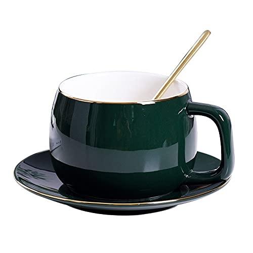 XDYNJYNL Keramische Kaffeetasse und Untertasse Set, 8.45oz / 250ml Amerikanisch Glatte Kokosnussbecher Milch Tassen Espresso-Tassen mit Griff Ananas-Tee-Paar-Teetasse Wasser Tasse Saft Bierbecher