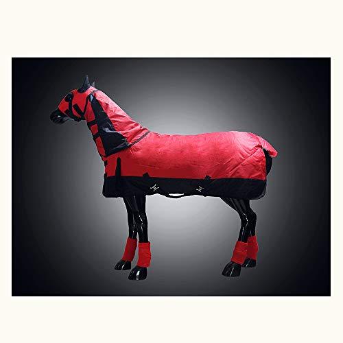 XLYAN Turnout Rug Paard Jas Winter Dik Waterdicht Met Paard Hoofd Cover En Paard Leggings, Winddicht En Warm 135cm