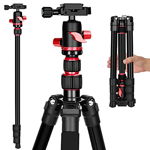 """59"""" Camera Tripod, Premium Tripod for DSLR Camera, Lightweight and Compact Aluminum Tripod with 360 Degree Panorama Ball Head, Monopod with Phone Clip and Remote for Smartphone, 17.6lbs Load"""