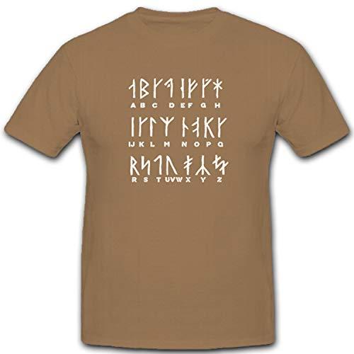 Vikingo runas germanen Caracteres Texto Letras Alfabeto-Camiseta # 5448 Arena X-Large