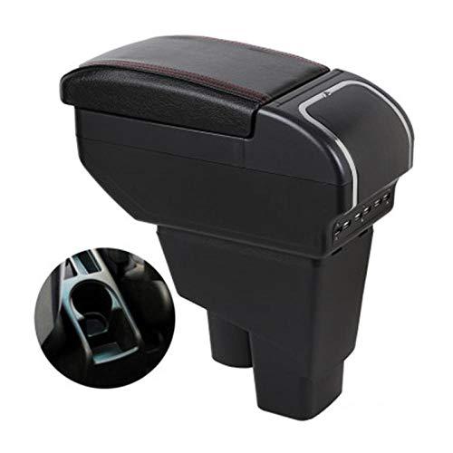 WANGLEISCC para Honda Fit Jazz 2002-2007, reposabrazos Hatchback reposabrazos Caja de Contenido de la Tienda Central con portavasos Cenicero Carga USB Modif