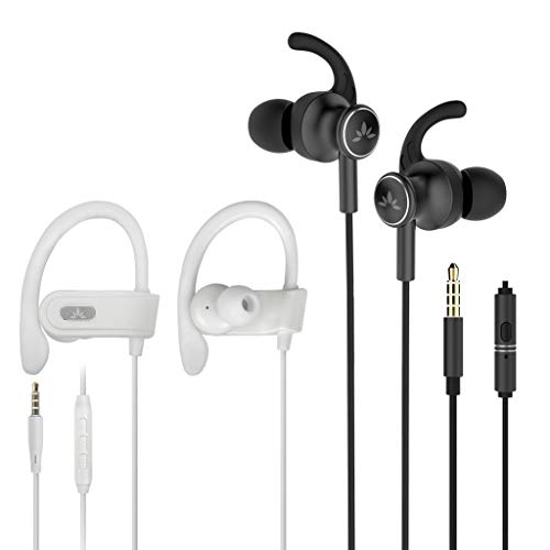 Avantree E171 & ME12 Sports Earbuds Wired with Microphone, Sweatproof Secure Fit Running Earphones for Workout Exercise Gym