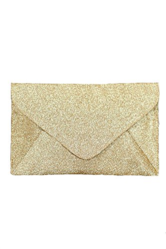 PILOT Women's Glitter Envelope Clutch Bag in Gold, size One Size