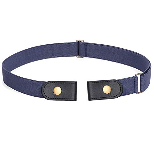 No Buckle Stretch Belt For Women Men Elastic Waist Belt Up to 72 Inch for Jeans Pants,Blue,Pants Size 23-30 Inches