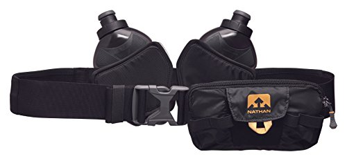 Nathan NS4529 Switchblade Running Hydaration Pack Fitness Running Belt with Two 12oz Flasks, Black, One Size