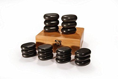 Master Massage 31133 Hot Stone - Piedras de masaje (18 unidades) Lava vocano basalto negro, 18 piezas, con una hermosa caja de bambú.