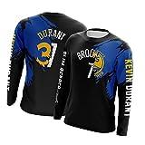 FGRGH Camiseta de punto Kevin Durant para hombre, Brooklyn Nets #7 y Warriors #35, cuello redondo, manga larga, para deportes de secado rápido, unisex, algodón al aire libre