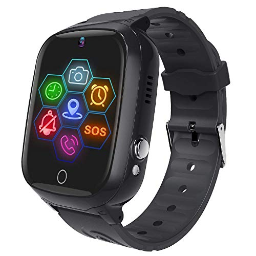 Smart Watch for Kids - Boys Girls Smartwatch Phone with Waterproof GPS Tracker Voice Chat SOS Call Camera Games Alarm Clock Anti Lost Games Touch Screen Watch Children Students Birthday Gifts (Black)