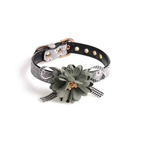 Koobysix hond benodigdheden kleine honden kat huisdieren kraag schattig verstelbare huisdier kraag met bloem boog bedels kettingen Leash geschenken voor uw hond, 1, Grijs