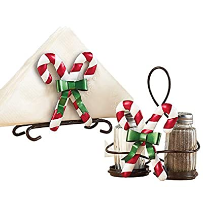 Candy Cane Glass Shakers with Napkin Holder