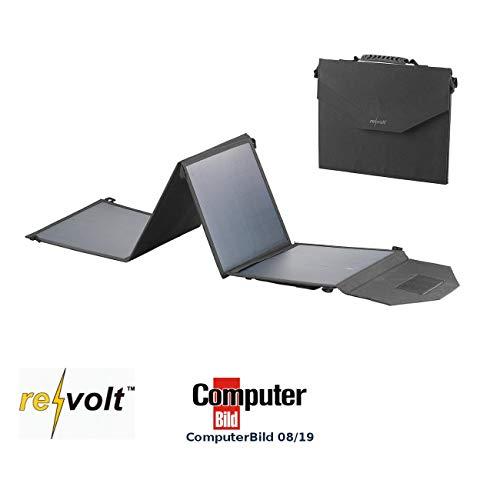 reVolt Solarkoffer: Mobiles, faltbares Solarpanel, 4 monokristalline Solarzellen, 50 Watt (Camping Stromversorgung)