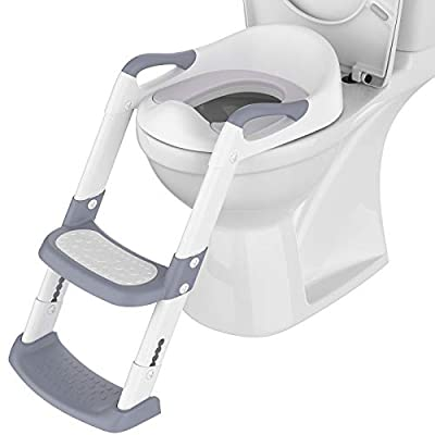 Potty Training Toilet Seat with Step Stool Ladder PU Padded Potty Seat Toddlers Foldable Potty Training Chair Seats with Handles Splash Guard for Kids Boys Girls (Gray) by Loyaa