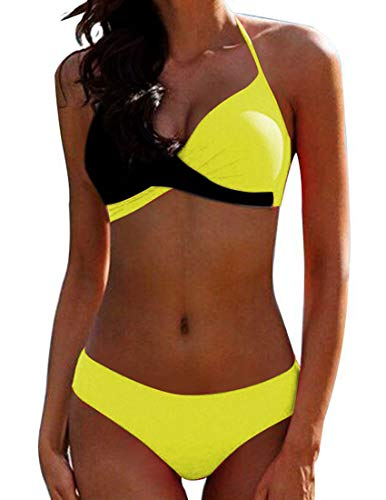 Bikini Elegante Traje de Baño Conjunto Bañador Halter Sexy Sólido para Mujer Ropa de Playa Traje de Baño Bikini Sets Talla Grande