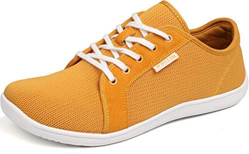 WHITIN Herren Knit Barfussschuhe Traillaufschuh Barfuss Schuhe Barfußschuhe Barfuß Barfußschuh Minimalistische Laufschuhe Zehenschuhe Trekkingschuhe Sneaker für Männer Fitness Gelb gr 43 EU