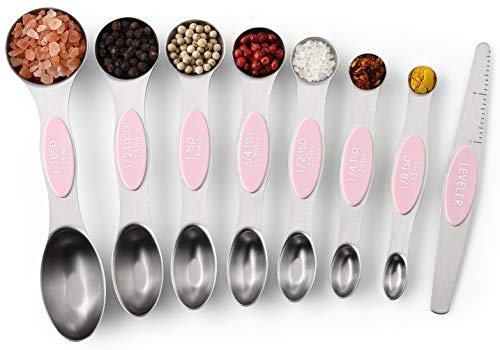 Spring Chef Magnetic Measuring Spoons Set Dual Sided Stainless Steel Fits in Spice Jars Pink Lemonade Set of 8