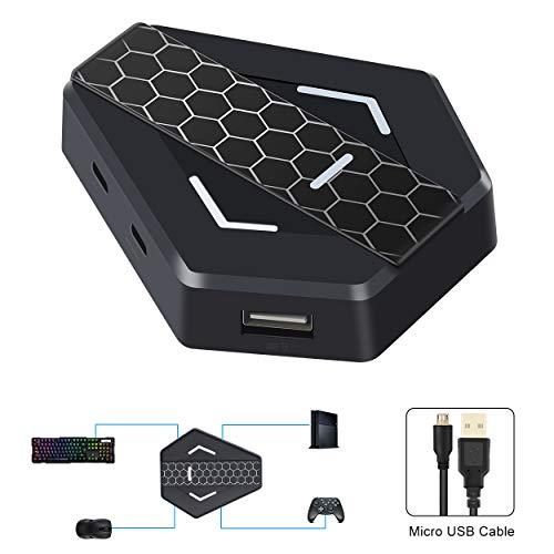 Tastatur und Maus Adapter für PS4/ PS3/Nintendo Switch /Xbox One, Adapter Tastatur und Maus Konverter mit Plug-and-Play LED-Anzeige