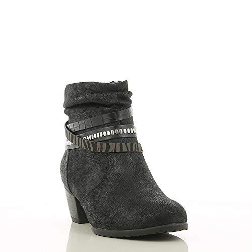SPROX Biker Boots Damen, Ankle Boots in Veloursleder Optik, Stiefeletten in schwarz mit halbhohem Absatz, Winterstiefel mit Riemen am Kurzschaft, Suede, EU 36