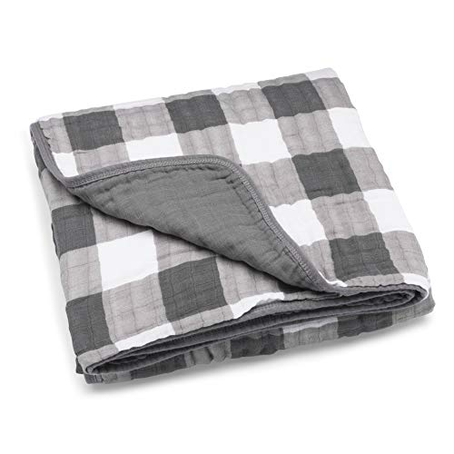 Parker Baby Muslin Blanket - 100% Soft Cotton Baby Quilt and Kids Blanket - Unisex, Gender Neutral - Gray Buffalo