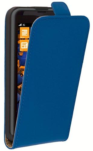 mumbi Tasche Flip Hülle kompatibel mit Nokia Lumia 630/635 Hülle Handytasche Hülle Wallet, blau