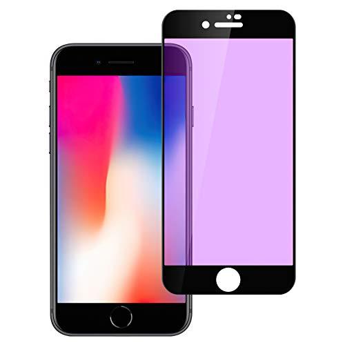 iPhone SE 2 ガラスフィルム SE 2 強化ガラスフィルム SE (第二世代) ブルーライトカット 目の疲れ軽減フィルム、3D Touch対応/高透過率/硬度9H/指紋防止/自動吸着/飛散防止/スクラッチ防止/気泡ゼロ、iPhone SE 2020 第2世代 液晶保護フィルム 3D曲面フルカバーふぃるむ(4.7インチ用)