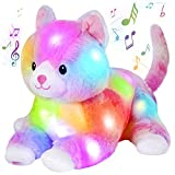 Glow Guards 13'' Musical Lying Light up Cat Plush Toy Rainbow Kitty LED Soft Stuffed Bed Night Light Birthday for Toddler Kids