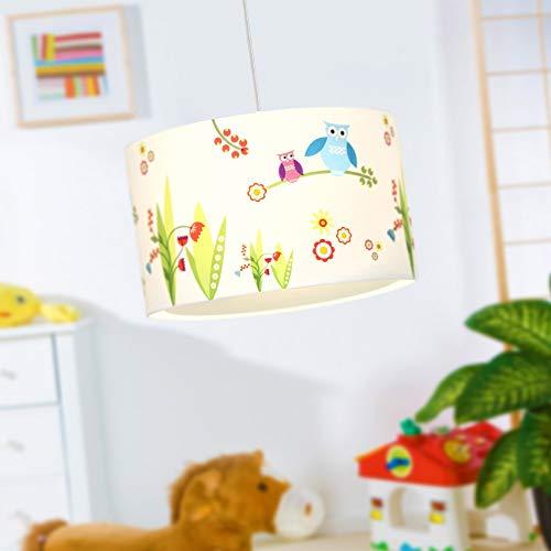 Suspension lampe Oiseaux, abat-jour textile avec chouette, Ø 40 cm, 1x E27 max. 50W, métal / textile, blanc / coloré