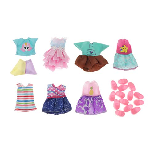 Toygogo 8 Set Outfits Fashion Dolls Dresses Clothes For 6.3inch Dolls Gifts - Set 1, as described