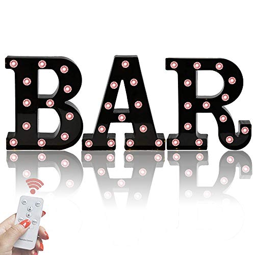 Black BAR Marquee Letters with Lights, Light Up Letters Marquee Signs Diamond Remote Control Desk Table Lamp for Bar, Pub,Bistro Party Decor- Black BAR