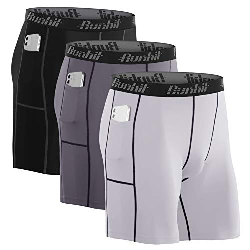 Runhit 3 Pack Sports Compression Shorts Men with Phone Pockets,Spandex Underwear for Men Shorts Running Short Workout Athletic