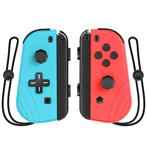 Wireless Controller for Switch,Proslife Joy Con Replacement Controller, Joystick Joypad with Wrist Strap and Dual Vibration-Red and Blue