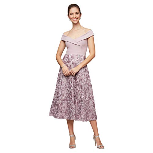 Alex Evenings Women's Mother of The Bride, Smokey orchid Off The Shoulder, 10