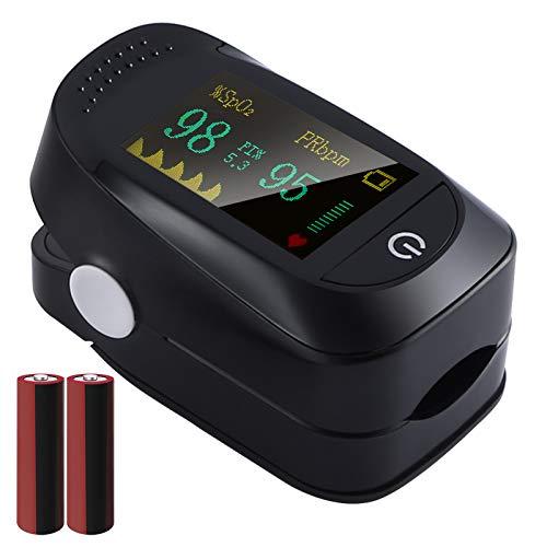 Oxímetro de Pulso, Pulsioximetro de Dedo Profesional, saturacion oxigeno oxímetro con pantalla OLED,Oxímetro con función de alarma,Operación con un solo botón (Incluyendo batería) (negro)