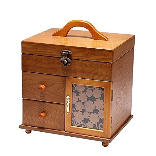 erddcbb Caja de Cofre de joyería Caja de joyería de Escritorio de Varias Capas Caja de cosméticos de Madera Maciza con Espejo Caja de joyería Organizador Caja de baratijas