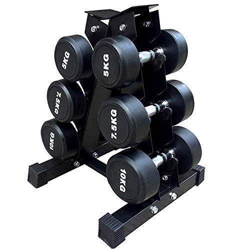 Easy-topbuy Hantelständer A-Frame Ablagefach Für Fitnessgewichte Stange, Stabiler Kompakter Hantelständer Schwarz 42,5x42cm
