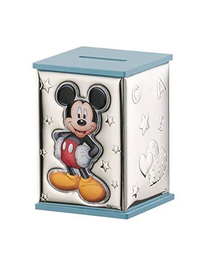 Hucha mickey mouse celeste personalizado en plata bilaminada