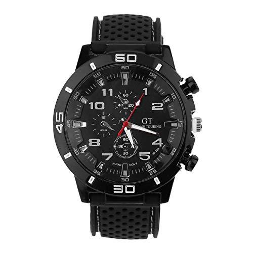 Uniqueheart Diseño de Moda Reloj de Pulsera Masculino Moda Acero Inoxidable Relojes Deportivos de Cuarzo Reloj Deportivo para Hombre Resistente al Agua Tendencia de la Moda - Negro