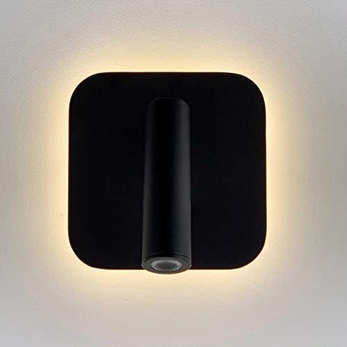QEGY Lámpara de Pared Interior Moderna, Aplique de Pared LED Negro con 350° Giratorio, LáMpara de Noche Negro con Blanco Cálido, Cuidado de Ojos, para Dormitorio Oficina Pasillos