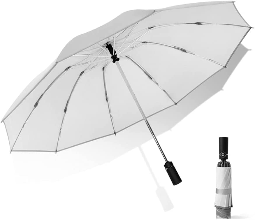QIAOLI Paraguas Plegables Paraguas Compacto for Hombres y Mujeres Auto Abierto y Cierre Botón Paraguas Paraguas Compacto for Sol de Verano Sol Paraguas para Hombres y Mujeres (Color : White)