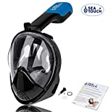 Full Face Snorkel Mask set with Safe Underwater Breathing System, Premium 180 Panoramic View, Silicone Mask, Snorkeling Packages, Anti Fog Anti Leak. Great for Women Men Kid Family Rest Water Swimming