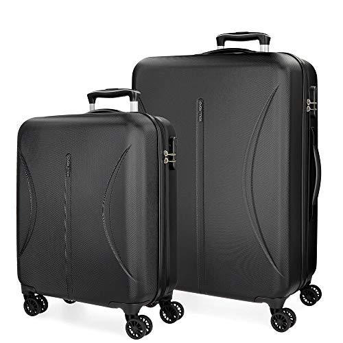 Roll Road Camboya Juego de maletas Negro 55/70 cms Rígida ABS Cierre combinación 111L 4 Ruedas Dobles Equipaje de Mano