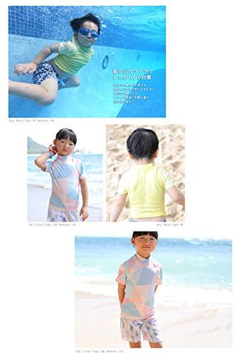 HEAZEL(ヘーゼル)全20色柄キッズラッシュガード半袖Tシャツハイネックラッシュトップス80~150サイズ子供UVカットUPF50+(ネイティブネイビー,110)