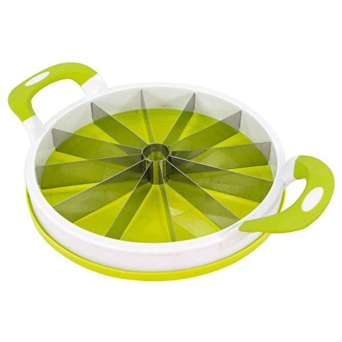 Melonenschneider Melonenteiler Melonenstückler, Kunststoff/Silikon/Edelstahl, ca. 28 x 28 x 7 cm, weiß/grün
