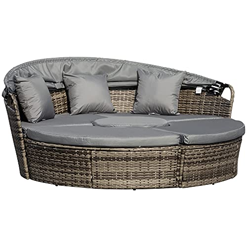 Outsunny 5 Piece Cushioned Outdoor Plastic Rattan Wicker Round Sofa Bed Coffee Table Sectional Patio Conversation Furniture Set - Deep Grey