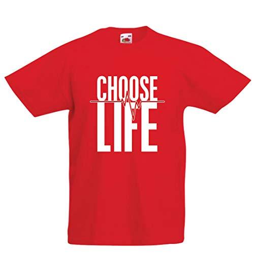 lepni.me Maglietta per Bambini/Ragazzi Scegli Il Battito del Cuore, protesta Politica Contro l'aborto, Citazione Cristiana (5-6 Years Rosso Multicolore)
