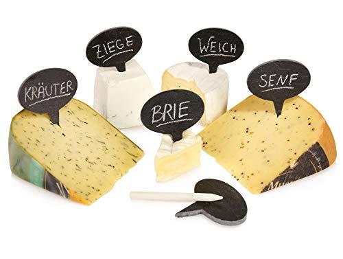 Sänger Buffet Schilder aus Schiefer mit Kreide | Maße der Schieferschilder 6x6 cm | Beschriftung von Käse und Buffet | Käse Markierer Set aus Naturschiefer