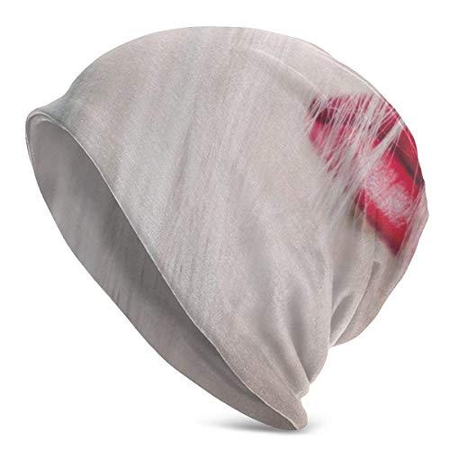zhouyongz Lippen Roter Lippenstift Haar Blonde Tägliche Herrenmütze, Warme, lässige, weiche Kopfbedeckung, ganzjähriger Komfort, Seriöse Mützen f